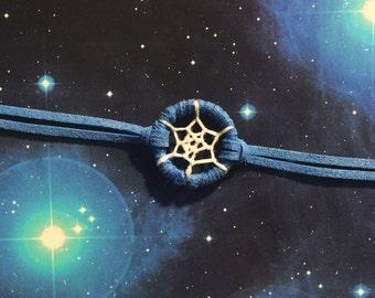 Dream catcher bracelet, blue trim, white web - dreamcatcher hand made
