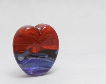 Lampwork Glass Heart Bead. Fire and Ice
