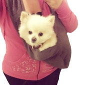 Luxury Handmade Small Dog Carrier One Size Fits All with a Pocket and Harness Clip