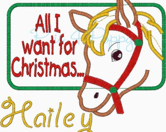 All I want for Christmas horse applique design instant download
