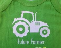 Baby FUTURE FARMER TRACTOR boy or girl short sleeve one piece farm tee