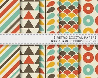 Retro Digital Printable Paper Pack / INSTANT DOWNLOAD / 5 Digital Papers / Printable Vintage Backgrounds 011