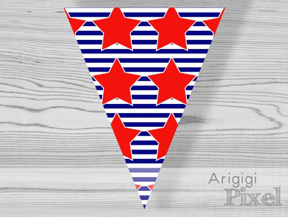 striped pennant with red stars, printable bunting banner, party garland, patriotic, holiday, 4th July, Labor day, instant download