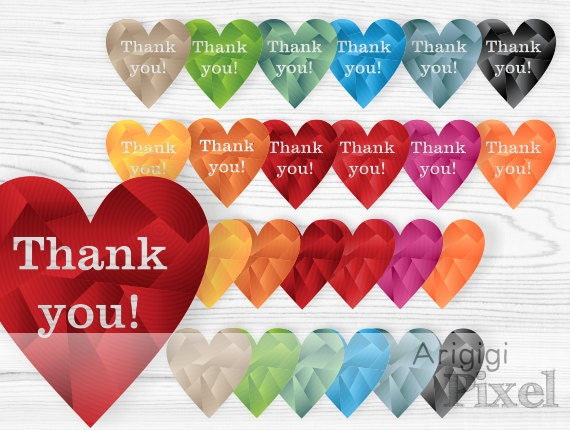 hearts clip art set , thank you hearts clipart, warm fall colors, geometric, gradient, commercial use, hearts download