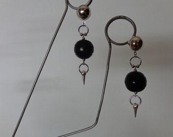 Silver Spike Earrings, Silver Ball Stud Earrings, Black Carved Earrings, Black Ball Earrings, Black Bone Earrings, Spike Stud Earrings