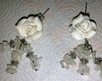 White Rose and Quartz Post Earrings   (E 139)