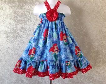 Disney's little mermaid summer halter dress size 2,3,4 & 5 made to order.