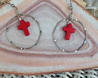 Red Howlite Cross Earrings Religious Hoop Earrings