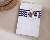 Nautical Wedding Guest Book - Personalized, Chevron // GB09