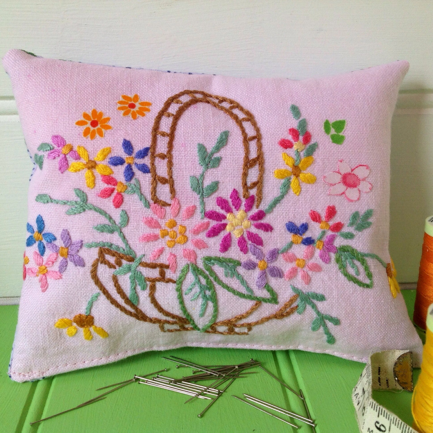 Sale pin cushion vintage fabric flowers and embroidery