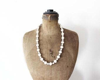 Long Beige Bead Necklace, Light Brown Bead Necklace, Long Chunky Bead Necklace, Off White Bead Necklace