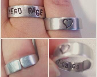 custom metal stamped adjustable ring