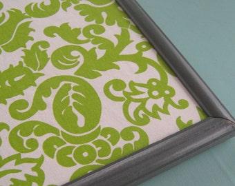 Large Framed Fabric Pin Board Charcoal Gray Green Damask Bulletin Board