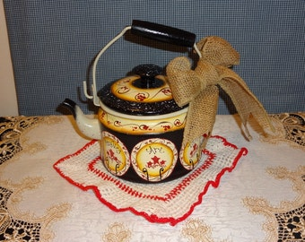 Primitive Hand Painted Tea Kettle,, Primitive Decor, Kitchen Decor, Stove Decor,,,