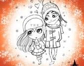 Digital Stamp- Lovely Winter Couple -300dpi jpeg file - MAC0030