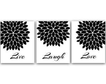 Live Laugh Love Wall Art, Printable Wall Art, Black and White Art, Quote  Art Print, Home Decor, Chrysanthemum, Instant Download - HOME16