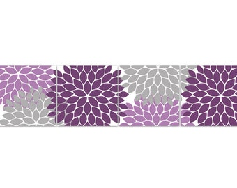 Purple And Grey Wall Art home decor wall art purple and grey flower burst canvas art