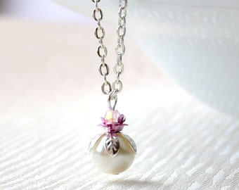 Pink bridesmaid jewelry necklace with pink flowers Woodland weddings Bridesmaids gift Flower girls jewelry Pink and ivory necklace