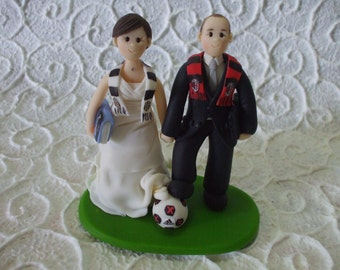 Personalized fans soccer bride and groom wedding cake topper