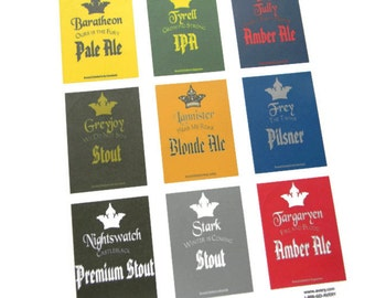 Game of Thrones Beer Labels, Baratheon, Frey, Greyjoy, Tully, Targaryen, Lannister, Stark, Tyrell, Nightswatch, gift for him, gift for dad
