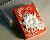 Coral and White Cameo Handcrafted Soap