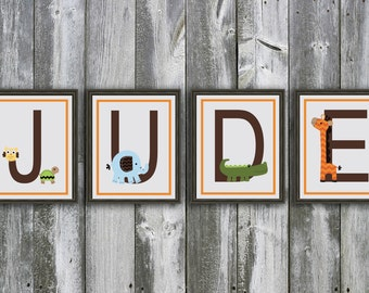 8 X 10 Customized Name - Made to Match Circo Jungle Stack Nursery Bedding by Target - Wall Art