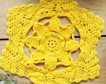Vintage Handmade Crochet Doillie Golden Yellow
