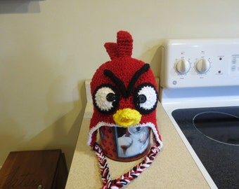 Red Angry Bird Crochet Hat