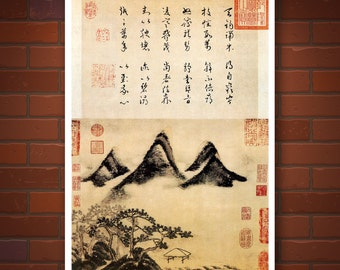 Ancient Chinese art, Mountains and Pines FINE ART PRINT, calligraphy chinese art prints, posters, nature landscape painting, wall art decor
