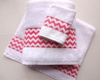 Chevron Towels, Hand Towels, Chevron, Pink, Bathroom, Towel Sets, Bath