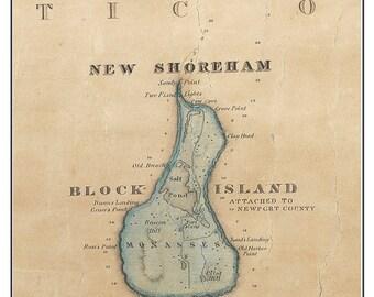 Block Island Rhode Island - 1831 Old Map by James Stevens - Custom Reprint -  New Shoreham