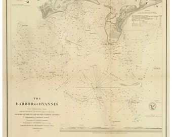 Hyannis Harbor, MA - 1850 Nautical Map - Reprint - 18-USA-1854