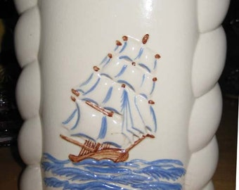 Abingdon U.S.A. Ship Vase #494D decorated