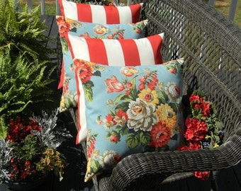 "SET OF 4 20"" Indoor / Outdoor Throw Pillows - 2 Blue, Red, Yellow Floral & 2 Red and White Stripe Decorative Pillows"