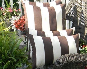 "Set of 4 - Indoor / Outdoor 20"" Square Throw Pillow & Rectangle / Lumbar Pillow Set - Brown and Ivory Stripe"
