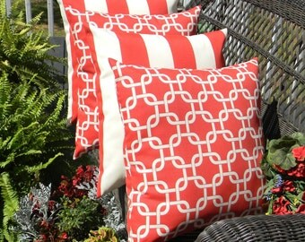 """Set of 4 - 17"""" x 17"""" Indoor / Outdoor Decorative Throw Pillows - 2 Red and White Stripe & 2 Red Geometric Chain Link Pattern"""