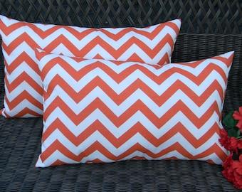 Set of 2 -  Orange & White Chevron / Zig Zag Indoor / Outdoor Rectangle / Lumbar Decorative Throw Pillows