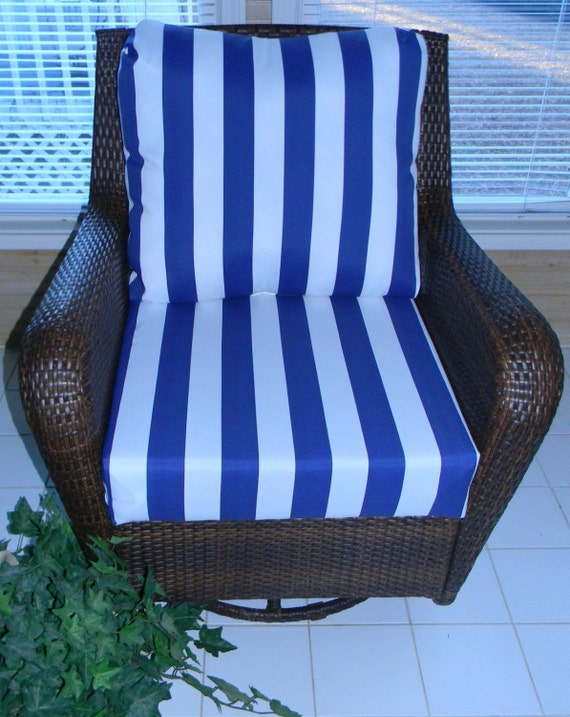 Navy Blue & White Stripe Cushion for Outdoor Deep Seat