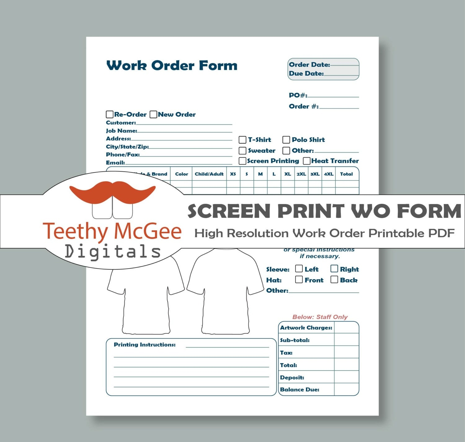 Work order form for screen printing instant download for Embroidery order form template free