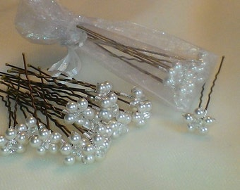 handmade bridal ivory white cream  pearl and crystal floral hairpin bobby pin x 6