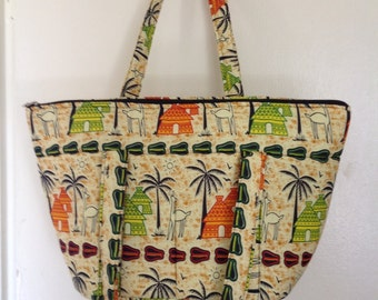 Colorful African tote beach bag