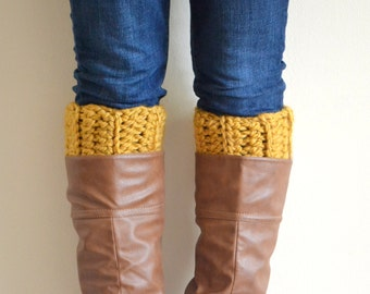 Mustard Chunky Boot Cuffs // Boot Socks, Button Legwarmers, Boot Toppers