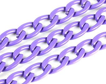 3ft Purple Chain, Twisted Curb Chain, 15x22mm Aluminum Chain, CB001.PU