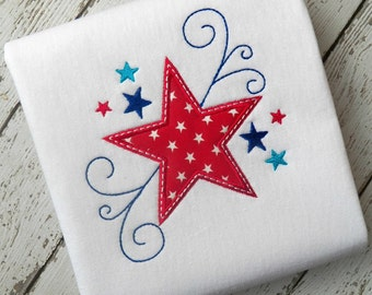 SWIRLY STAR machine embroidery design