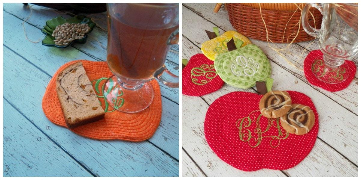 Autumn mug rug machine embroidery design by eastcoastapplique