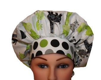 Scrub Cap Surgical Hat Tie Back Bouffant Style - Lime Green Silver Gray Black Giraffes  - 2nd Item Ships FREE