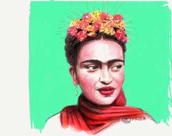 Frida Kahlo 8x10 art print in Bright Green,                                      Created on my Ipad with the app Paper53