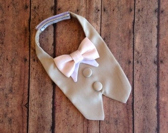 Khaki Dog Tuxedo Bib (custom color bow ties)