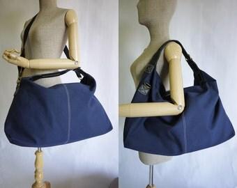 Dark Navy Blue Cotton Large Messenger, Shoulder Bag, Tote, Overnight Bag/Travel Bag, Work Bag, Hip Bag - MB014