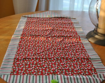 Snowmen and Stripes Table Runner